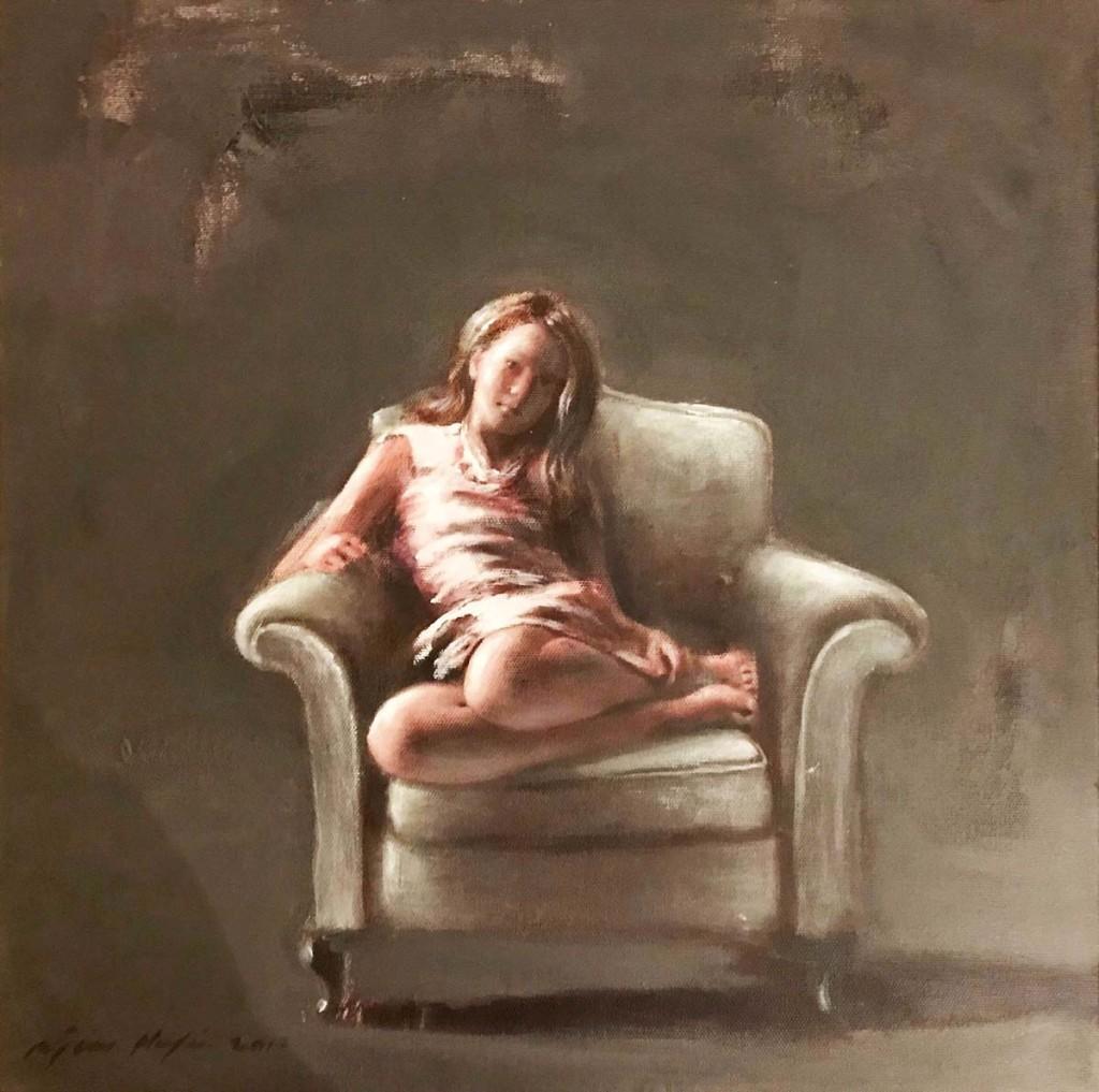 Andreas-Niocolaou,-Koritsi-me-rose-forema,-40-x-40-cm,-Mixed-media-on-canvas_pr